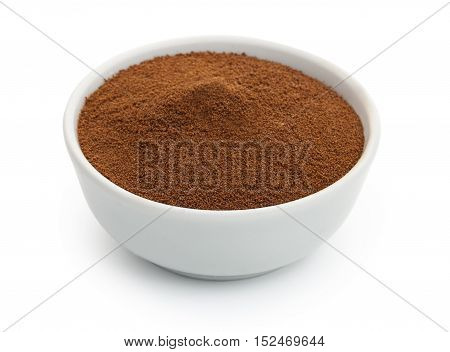 Chicory Powder In A In White Ceramic Bowl. Isolated On White Background, Close-up.