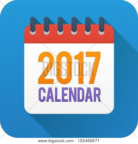 Year 2017 flat style vector calendar icon on blue background