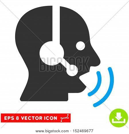 Operator Speech Sound Waves EPS vector pictograph. Illustration style is flat iconic bicolor blue and gray symbol on white background.