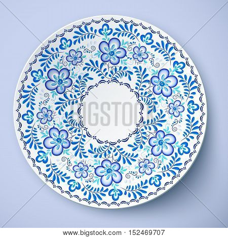 Blue traditional Russian floral ornament in gzhel style, vector plate template