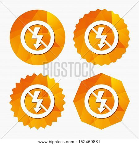 No Photo flash sign icon. Lightning symbol. Triangular low poly buttons with flat icon. Vector