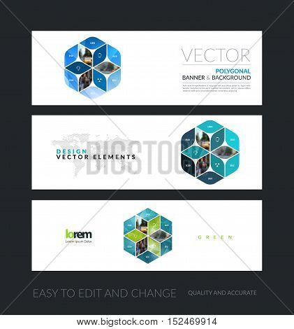 Vector set of modern horizontal website banners with blue abstract with rhombus, rectangle for business. Clean web headers design. Creative corporate flyer.