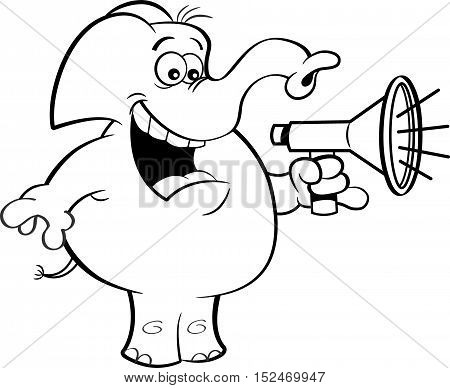 Black and white illustration of an elephant holding a megaphone.