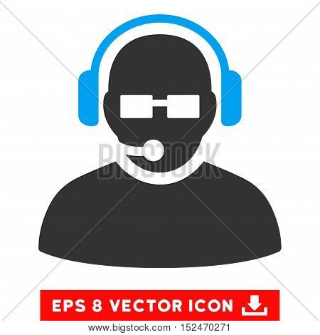 Operator EPS vector pictograph. Illustration style is flat iconic bicolor blue and gray symbol on white background.