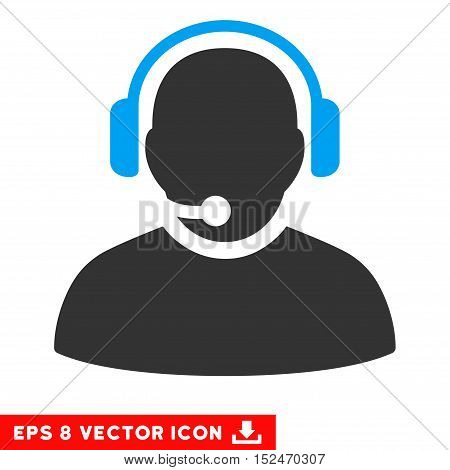 Operator EPS vector pictogram. Illustration style is flat iconic bicolor blue and gray symbol on white background.