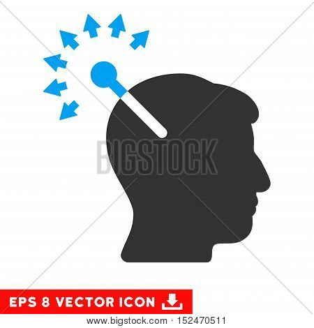 Optical Neural Interface EPS vector pictogram. Illustration style is flat iconic bicolor blue and gray symbol on white background.