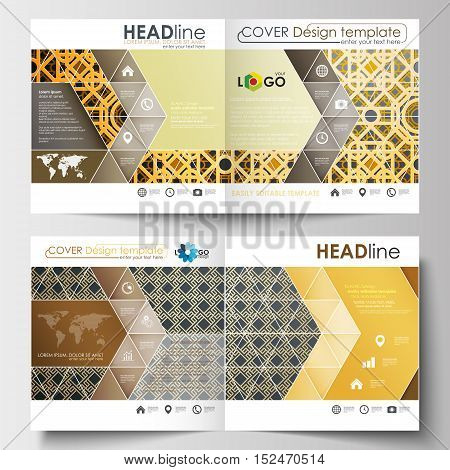 Business templates for square design brochure, magazine, flyer, booklet or annual report. Leaflet cover, abstract flat layout, easy editable blank. Islamic gold pattern, overlapping geometric shapes forming abstract ornament. Vector golden texture.