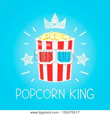 King Popcorn concept for cinema vector cartoon flat and doodle illustration. Crown and stars icon