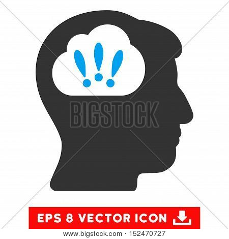 Problem Brainstorm EPS vector pictograph. Illustration style is flat iconic bicolor blue and gray symbol on white background.