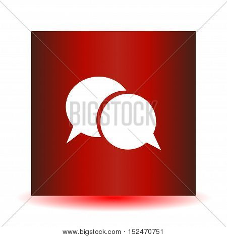 Red dialogue icon on a white background. Vector illustration.