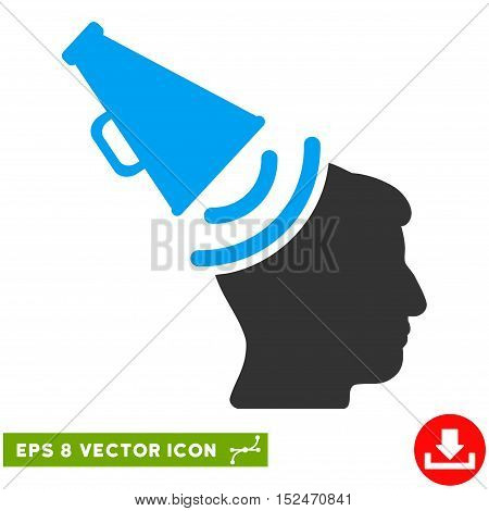 Propaganda Megaphone EPS vector pictograph. Illustration style is flat iconic bicolor blue and gray symbol on white background.