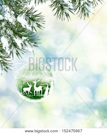 forest in the frost. Winter landscape. Snow covered trees with deer ornament