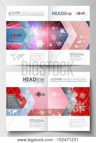 Business templates for brochure, magazine, flyer, booklet or annual report. Cover design template, easy editable blank, abstract flat layout in A4 size. Christmas decoration, vector background with shiny snowflakes.
