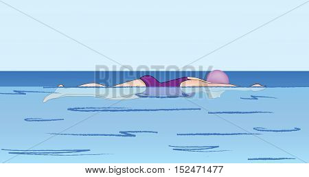 Swimmer racing in the pool illustration. Swimming school lesson banner