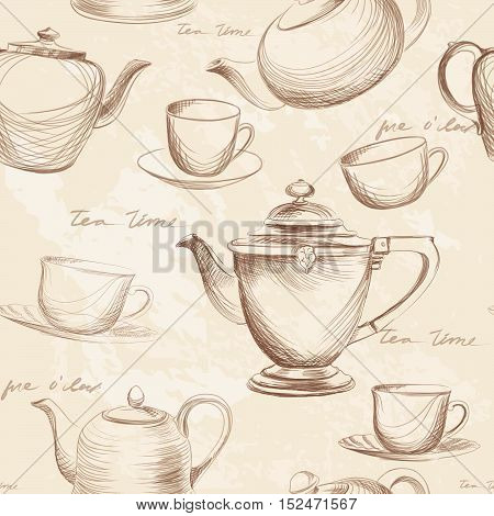 Tea cup and teapot vintage seamless background. Retro kettle pattern. English tea time concept