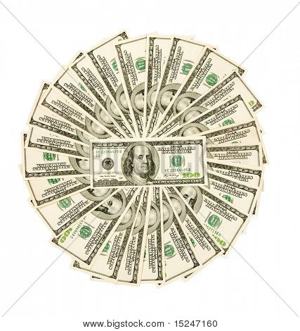 fan, dollars isolated on white