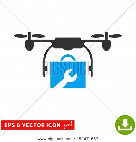 Service Drone EPS vector pictograph. Illustration style is flat iconic bicolor blue and gray symbol on white background.