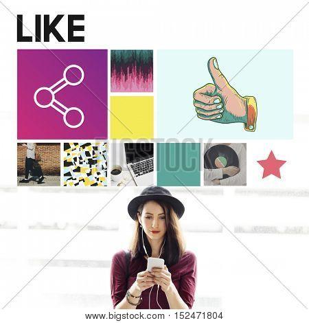 Like Love Share Agree Follow Enjoy Ideas Concept