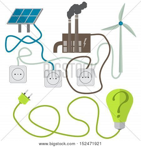 Renewable energy sources choosing concept. Vector illustration in flat style