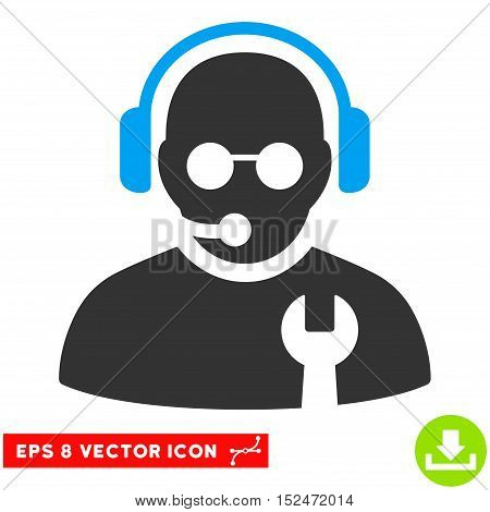 Service Operator EPS vector pictogram. Illustration style is flat iconic bicolor blue and gray symbol on white background.