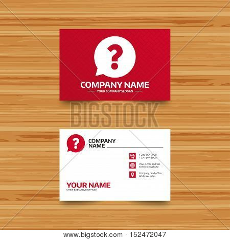 Business card template. Question mark sign icon. Help speech bubble symbol. FAQ sign. Phone, globe and pointer icons. Visiting card design. Vector
