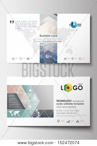 Business card templates. Cover design template, easy editable blank, abstract flat layout. DNA molecule structure on blue background. Scientific research, medical technology