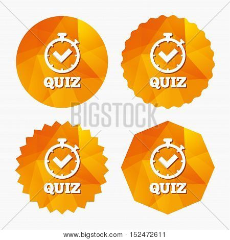 Quiz timer sign icon. Questions and answers game symbol. Triangular low poly buttons with flat icon. Vector