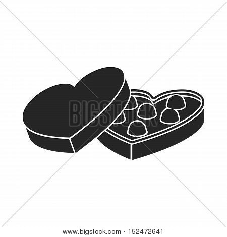 Valentine's chocolate icon in black style isolated on white background. Romantic symbol vector illustration.