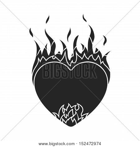 Heart in flame icon in black style isolated on white background. Romantic symbol vector illustration.