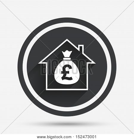 Mortgage sign icon. Real estate symbol. Bank loans. Circle flat button with shadow and border. Vector