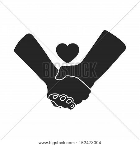 Hands icon in black style isolated on white background. Romantic symbol vector illustration.