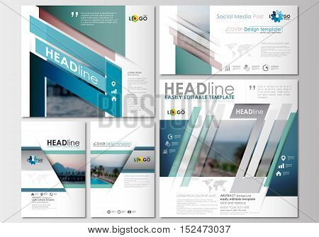 Social media posts set. Business templates. Cover design, abstract flat style travel decoration layouts in popular formats, easy editable vector template, colorful blurred natural landscape