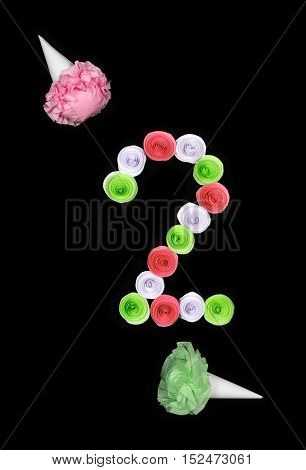 Decorative figure of two lined paper flowers