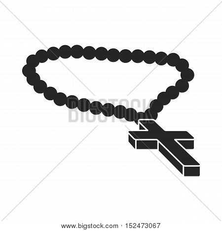 Christian rosary icon in black style isolated on white background. Religion symbol vector illustration.