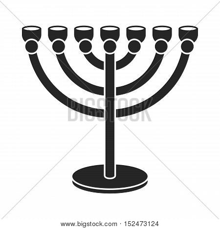 Menorah icon in black style isolated on white background. Religion symbol vector illustration.