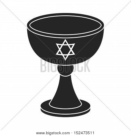 Wine cup icon in black style isolated on white background. Religion symbol vector illustration.