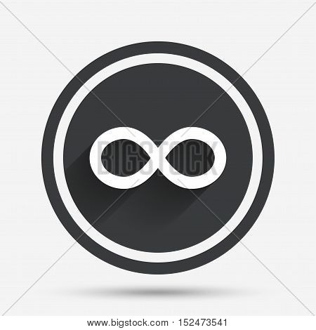 Repeat icon. Loop symbol. Infinity sign. Circle flat button with shadow and border. Vector
