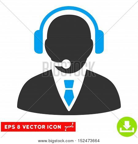 Support Manager EPS vector pictogram. Illustration style is flat iconic bicolor blue and gray symbol on white background.
