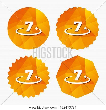 Return of goods within 7 days sign icon. Warranty exchange symbol. Triangular low poly buttons with flat icon. Vector