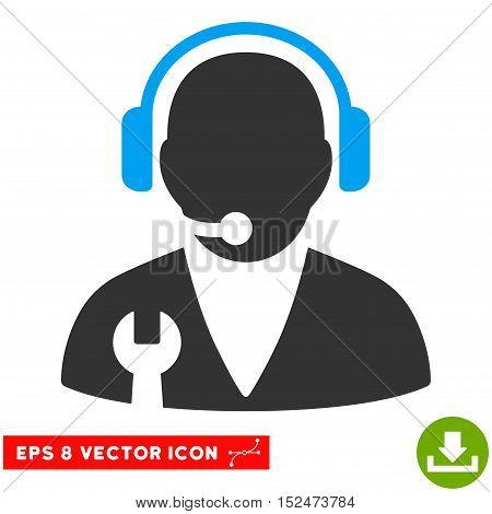 Support Manager EPS vector icon. Illustration style is flat iconic bicolor blue and gray symbol on white background.