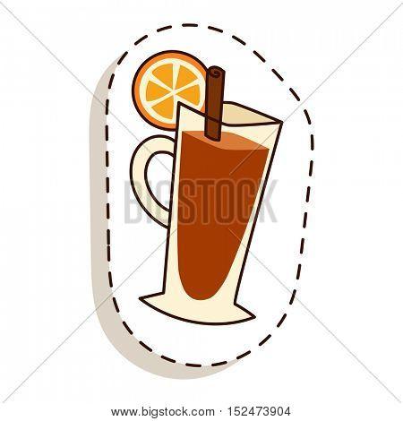 Tea cup with lemon slice cartoon vector illustration.