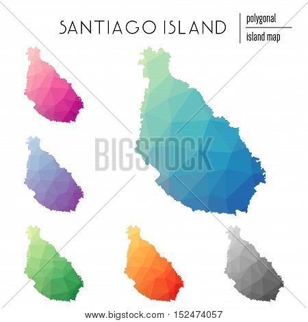 Set Of Vector Polygonal Santiago Island Maps Filled With Bright Gradient Of Low Poly Art. Multicolor