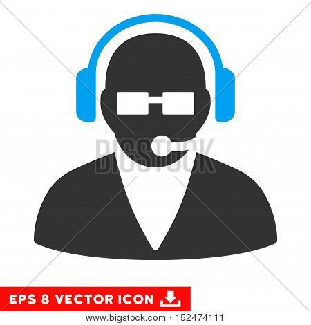 Support Operator EPS vector pictogram. Illustration style is flat iconic bicolor blue and gray symbol on white background.