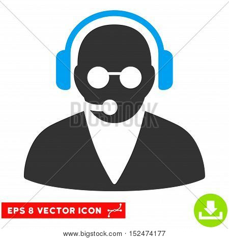 Support Operator EPS vector icon. Illustration style is flat iconic bicolor blue and gray symbol on white background.