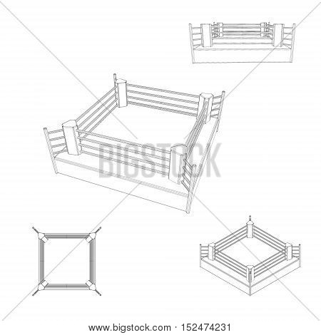 Boxer ring set. Isolated on white background. Vector outline illustration.
