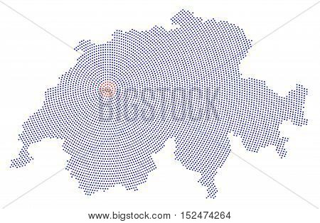 Switzerland map radial dot pattern. Blue dots going from the red dotted capital Bern outwards and form the country silhouette. Illustration on white background.