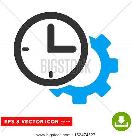 Time Setup Gear EPS vector pictograph. Illustration style is flat iconic bicolor blue and gray symbol on white background.