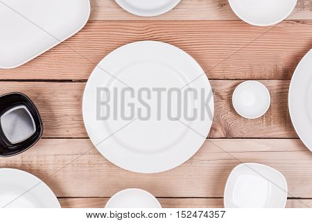 Top View Group of Empty Dish On Wood Background Textured