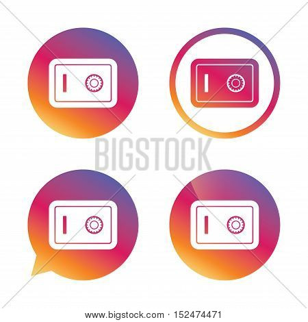 Safe sign icon. Deposit lock symbol. Protection for your documents in hotel. Gradient buttons with flat icon. Speech bubble sign. Vector