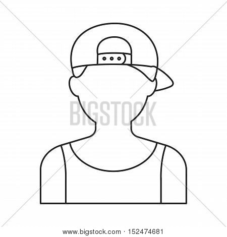 Boy in cap icon outline. Single avatar, people icon from the big avatar outline.